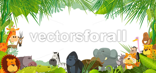 Postcard With Wild African Animals - Vectorsforall