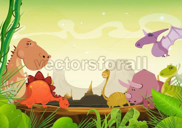 Prehistoric Landscape With Dinosaurs - Vectorsforall
