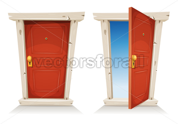 Red Door Open And Closed - Vectorsforall