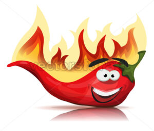 Red Hot Chili Pepper Character With Burning Flames - Vectorsforall
