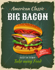 Retro Fast Food Bacon Burger Poster - Vectorsforall