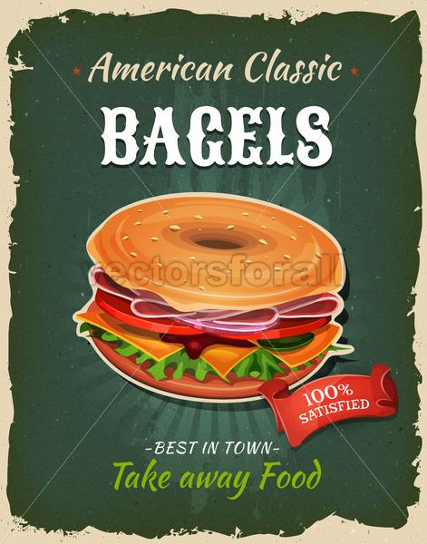 Retro Fast Food Bagel Poster - Vectorsforall