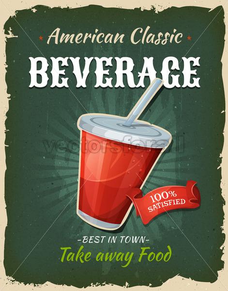 Retro Fast Food Beverage Poster - Vectorsforall