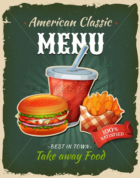Retro Fast Food Chicken Burger Menu Poster - Vectorsforall