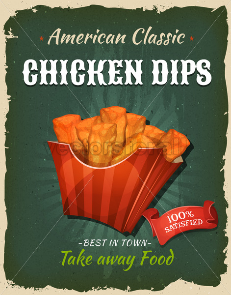 Retro Fast Food Chicken Dips Poster - Vectorsforall
