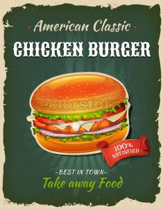 Retro Fast Food Chicken burger Poster - Vectorsforall