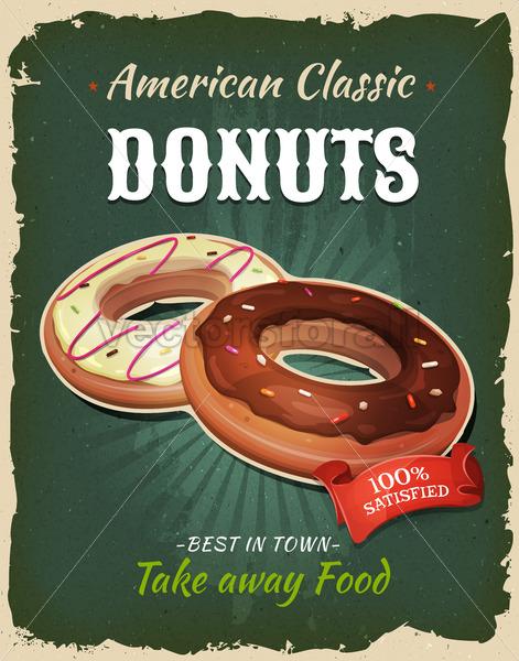 Retro Fast Food Donuts Poster - Vectorsforall