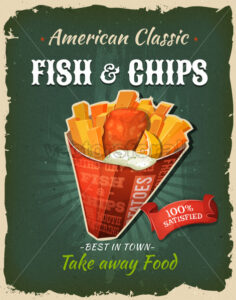Retro Fast Food Fish And Chips Poster - Vectorsforall