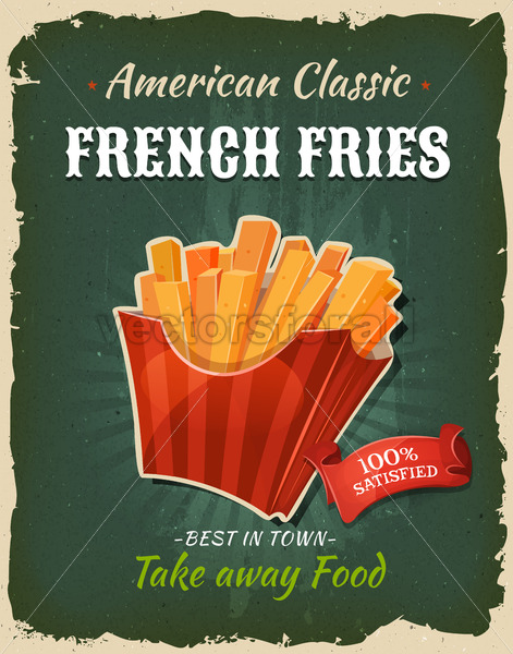 Retro Fast Food French Fries Poster - Vectorsforall
