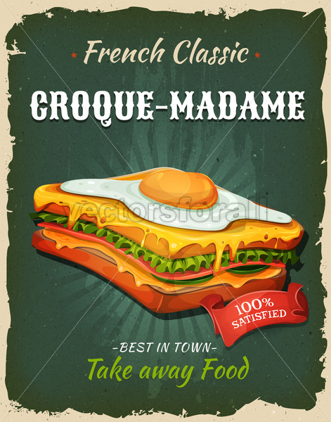 Retro Fast Food French Sandwich Poster - Vectorsforall