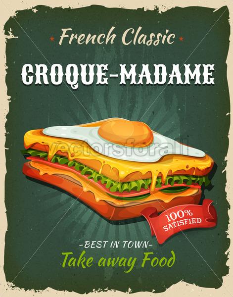 Retro Fast Food French Sandwich Poster - Vectorsforall