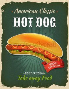 Retro Fast Food Hot Dog Poster - Vectorsforall
