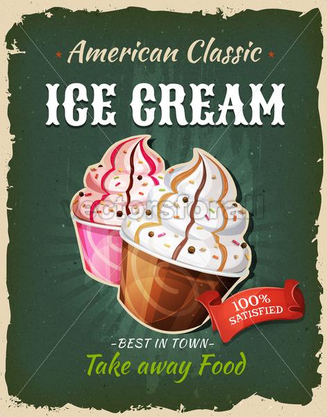 Retro Fast Food Ice Cream Poster - Vectorsforall