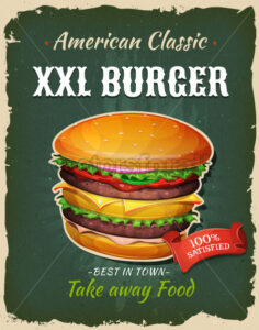 Retro Fast Food King Size Burger Poster - Vectorsforall