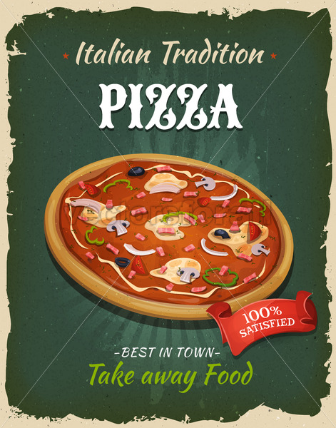 Retro Fast Food Pizza Poster - Vectorsforall