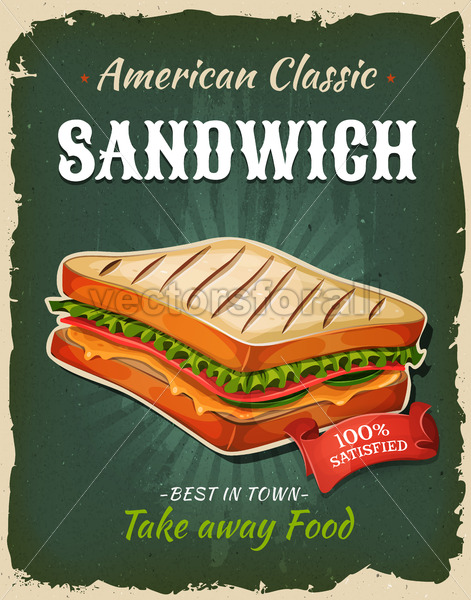 Retro Fast Food Sandwich Poster - Vectorsforall