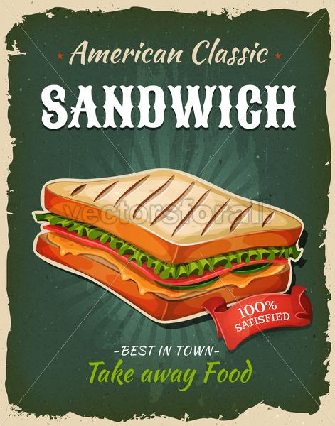 Retro Fast Food Sandwich Poster - Vectorsforall