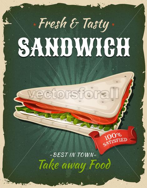 Retro Fast Food Swedish Sandwich Poster - Vectorsforall