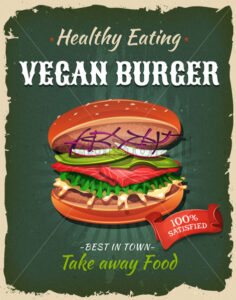Retro Fast Food Vegan Burger Poster - Vectorsforall