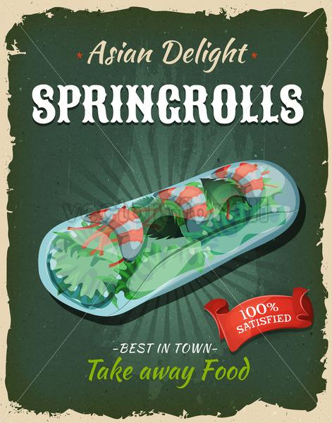 Retro Japanese Springrolls Poster - Vectorsforall