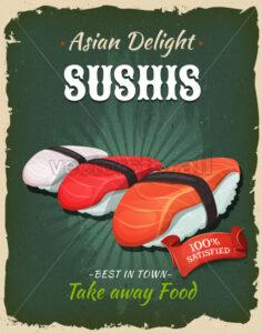 Retro Japanese Sushis Poster - Vectorsforall