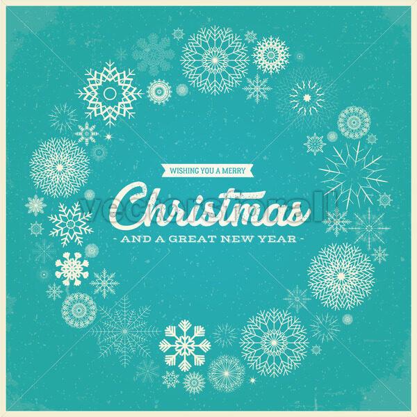 Retro Merry Christmas Greetings - Vectorsforall