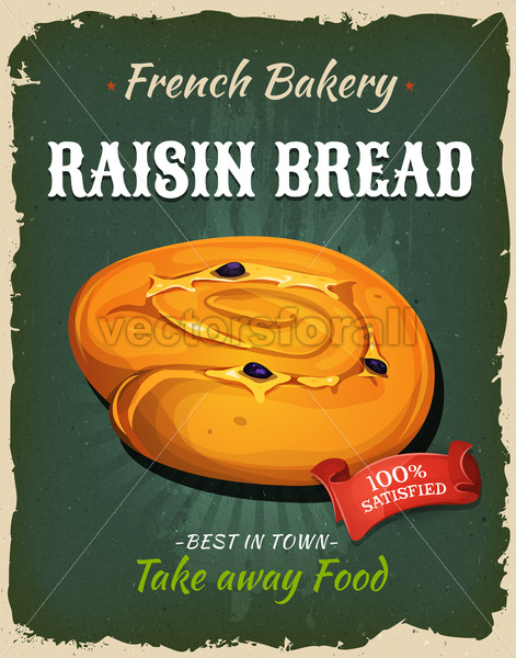 Retro Raisin Bread Poster - Vectorsforall