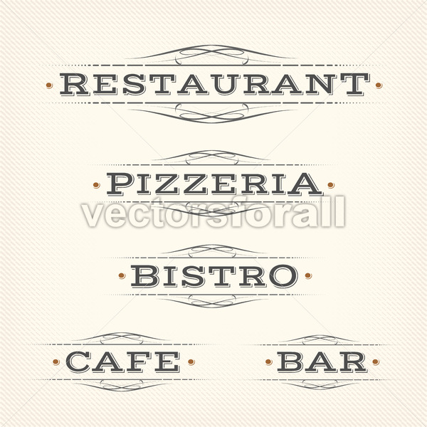 Retro Restaurant, Pizzeria And Bar Banners - Vectorsforall