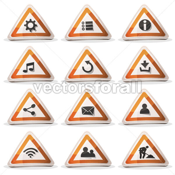 Road Sign Icons And Buttons For Ui Game - Vectorsforall