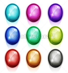 Rounded Gems, Diamonds Icons And Buttons - Vectorsforall