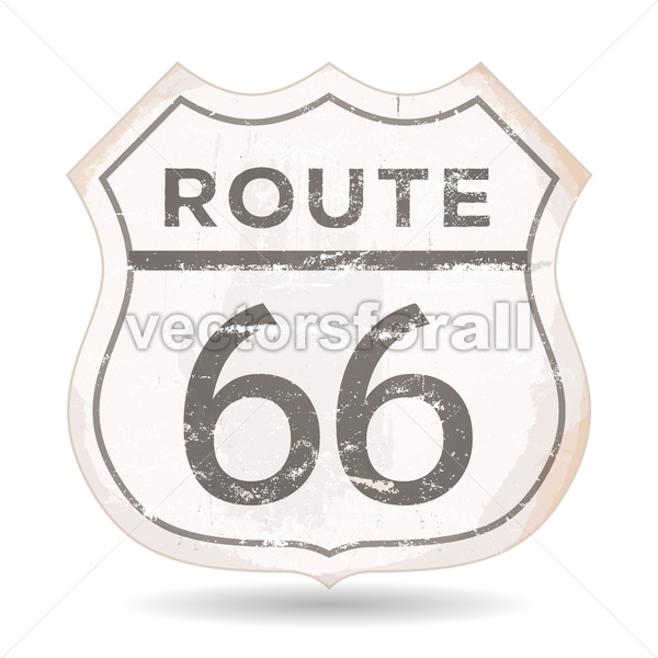 Route 66 Icon With Grunge And Rust Textures - Vectorsforall