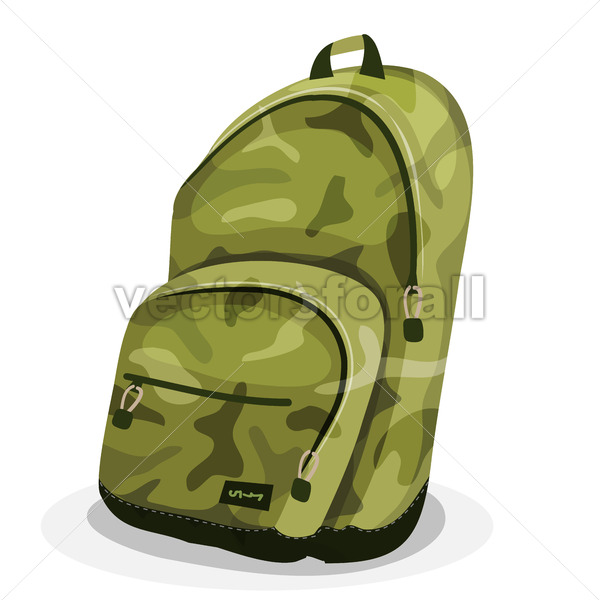 Schoolbag With Camouflage Patterns - Vectorsforall