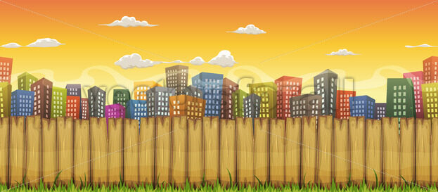 Seamless City Landscape Background - Vectorsforall