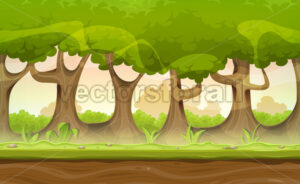 Seamless Forest Trees And Hedges Landscape For Game Ui - Vectorsforall