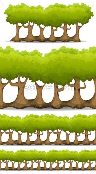 Seamless Forest Trees, Hedges And Bush Set - Vectorsforall
