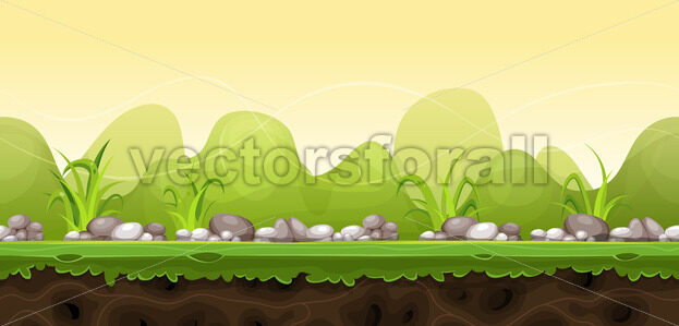 Seamless Green Landscape For Game Ui - Vectorsforall