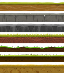 Seamless Grounds, Soil And Grass For Ui Game - Vectorsforall