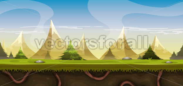 Seamless Mountains Landscape For Game Ui - Vectorsforall