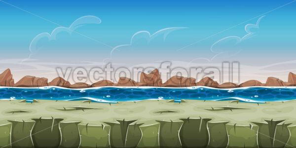 Seamless Ocean Landscape For Game Ui - Vectorsforall