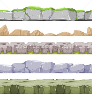 Seamless Rocky Landscape And Stony Grounds For Game Ui - Vectorsforall