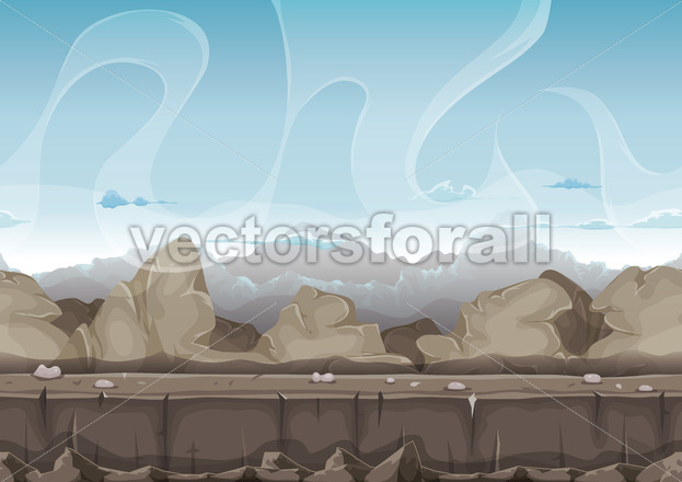 Seamless Stone And Rocks Desert Landscape For Ui Game - Vectorsforall