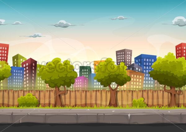 Seamless Street City Landscape For Game Ui - Vectorsforall