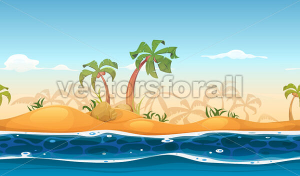 Seamless Tropical Beach Landscape - Vectorsforall