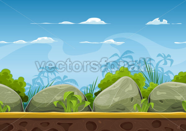 Seamless Tropical Beach Landscape For Ui Game - Vectorsforall