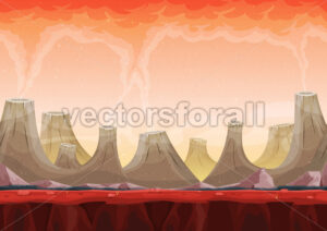 Seamless Volcano Planet Landscape For Ui Game - Vectorsforall