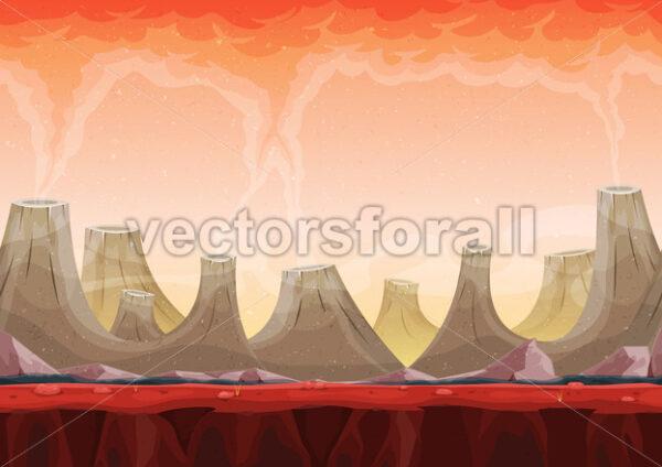 Seamless Volcano Planet Landscape For Ui Game - Vectorsforall