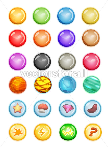 Set Of Bubbles And Magic Balls For Game Ui - Vectorsforall