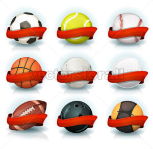 Set Of Sports Balls With Red Banners - Vectorsforall