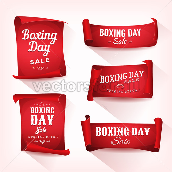 Set of Boxing Day Sale Parchment And Banners - Vectorsforall