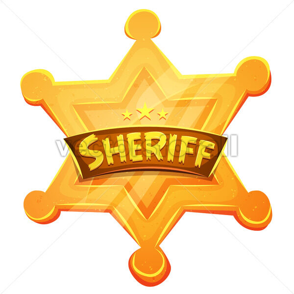 Sheriff Marshal Star Gold Medal Icon - Vectorsforall